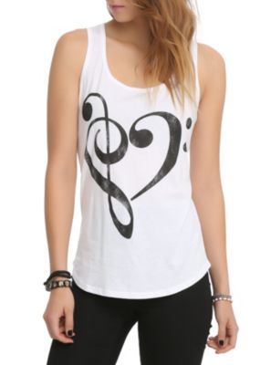 Music Clef Heart Girls Tank Top ER01