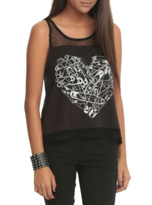Safety Pin Mesh Girls Tank Top ER01