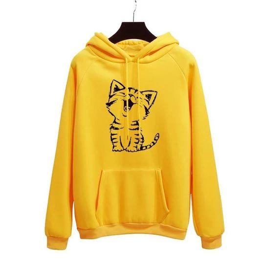 Cat Yellow Hoodie VL30