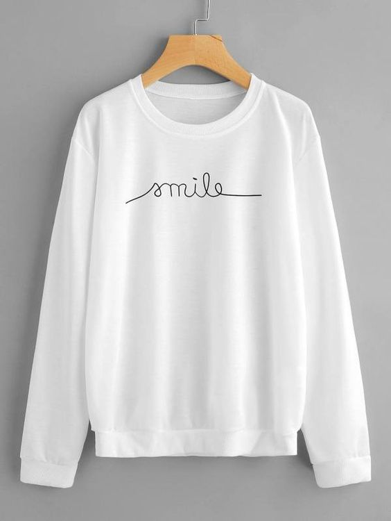 Smile White Printed T-Shirt DV
