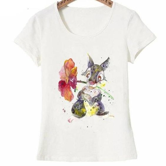 Watercolor Flowers Rabbit T-Shirt EL01