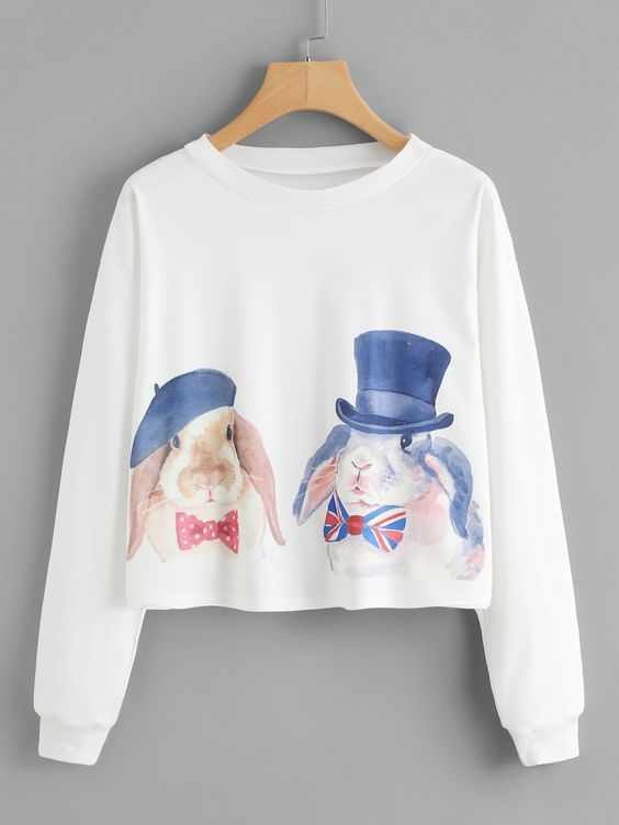 Watercolor Rabbit Sweatshirt EL01