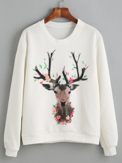 White Deer Print Sweatshirt FD30