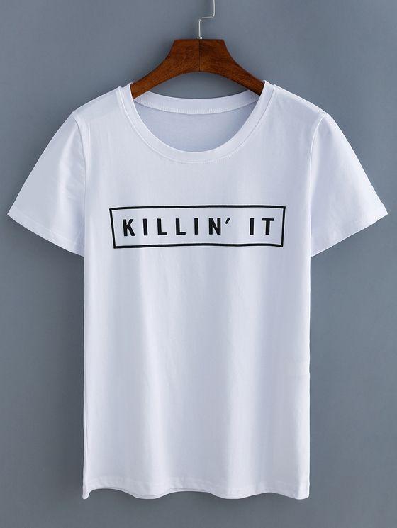 White Letters Print T-Shirt DV