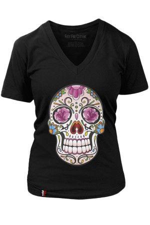 Women's Color Sugar Skull T-Shirt AV01