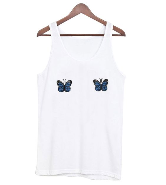 Blue Ribbed Butterfly Tanktop ER27N