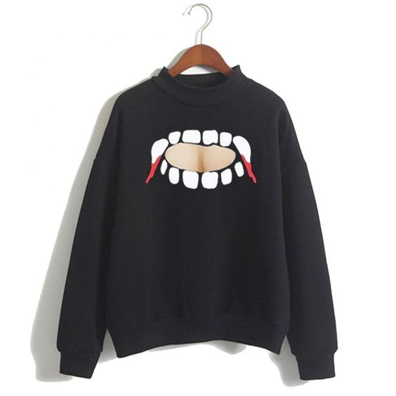 Vampire Teeth Cut Out Sweatshirt ER15N