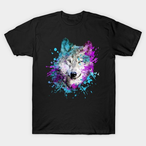 Watercolor wolf T Shirt SR6N