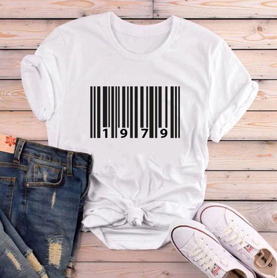 barcode 1979 Birth year shirt FD5N