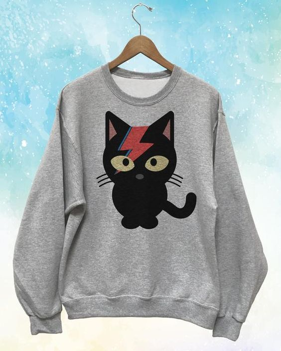 Bowie Black Cat Sweatshirt D4ER