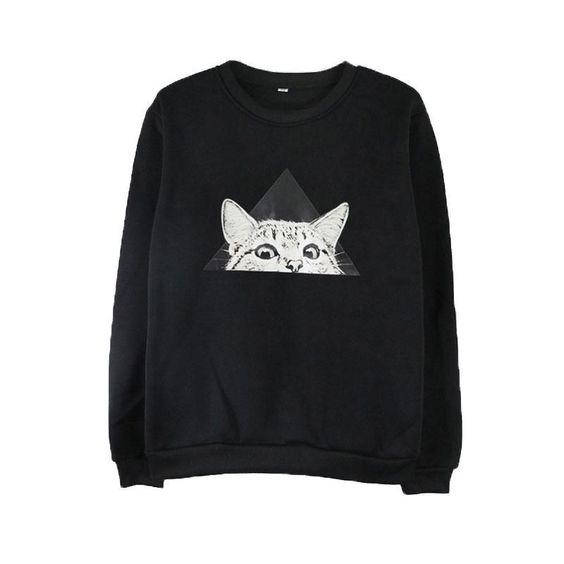 Cartoon Cat Loose Sweatshirt D4ER