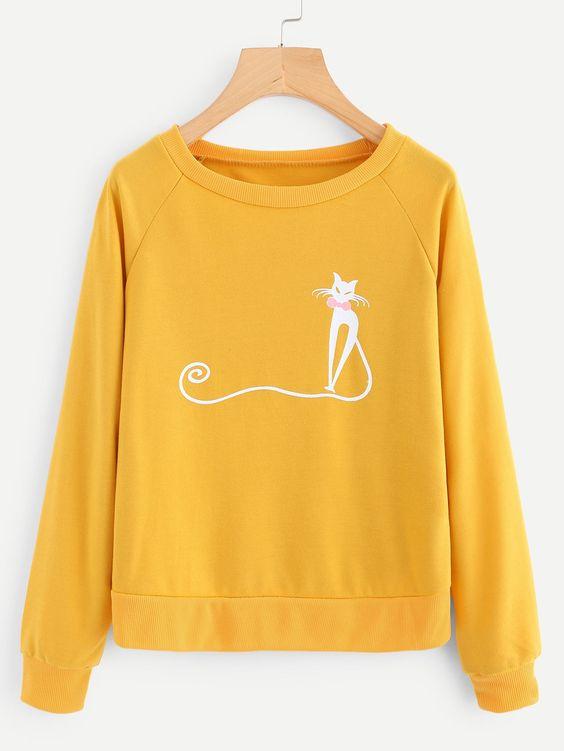 Cat Print Raglan Sweatshirt D4ER