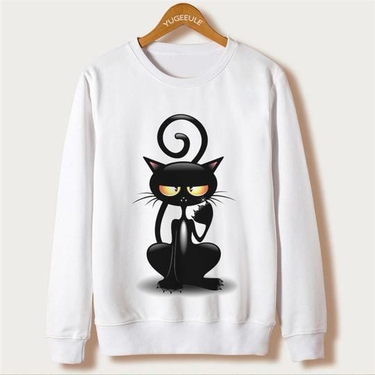 Funny Cat Sweatshirt D43ER