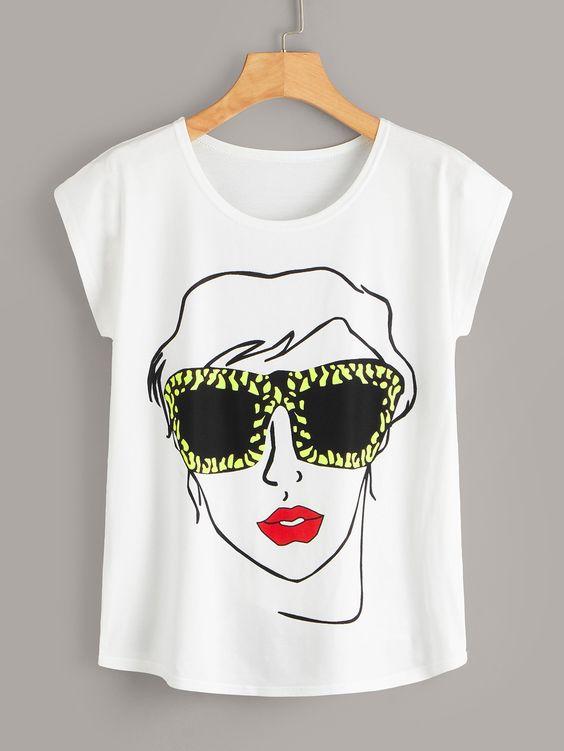 Women Black Glasses Tshirt FD21D