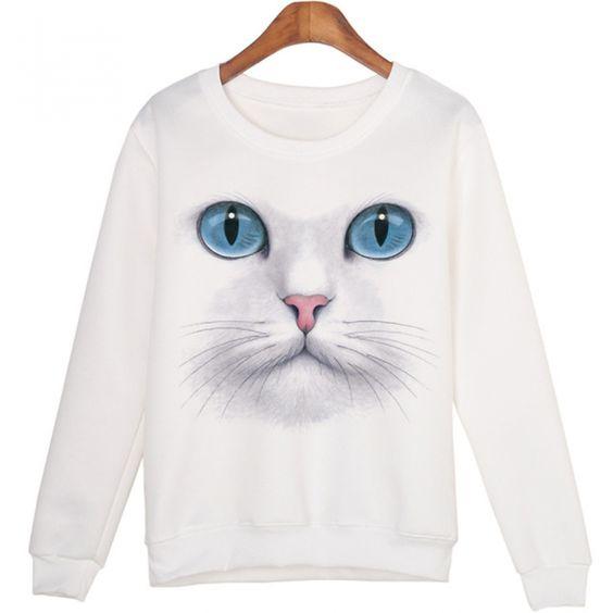 Women Winter Cat Sweatshirt D4ER
