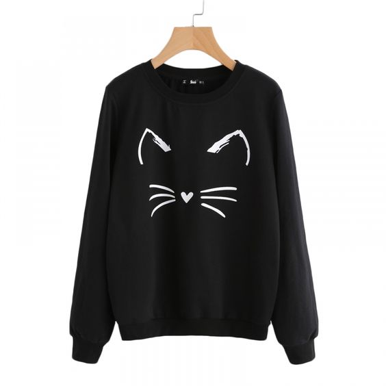 Women's Cat Printed Sweatshirt D4ER