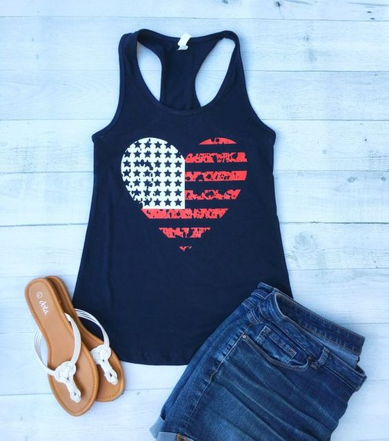 Love American Flag Tanktop ND27J0