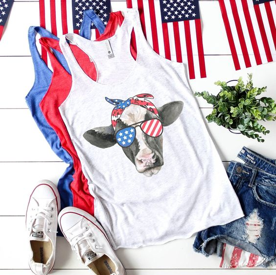 Patriotic USA Cow Tanktop Fd27J0