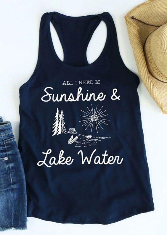 Sunshine & Lake Water Tank Top DL17J0
