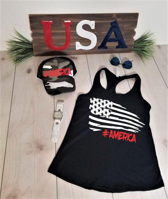 USA Flag Black Tanktop ND27J0