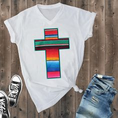 White Serape Cross Tshirt TU2M0