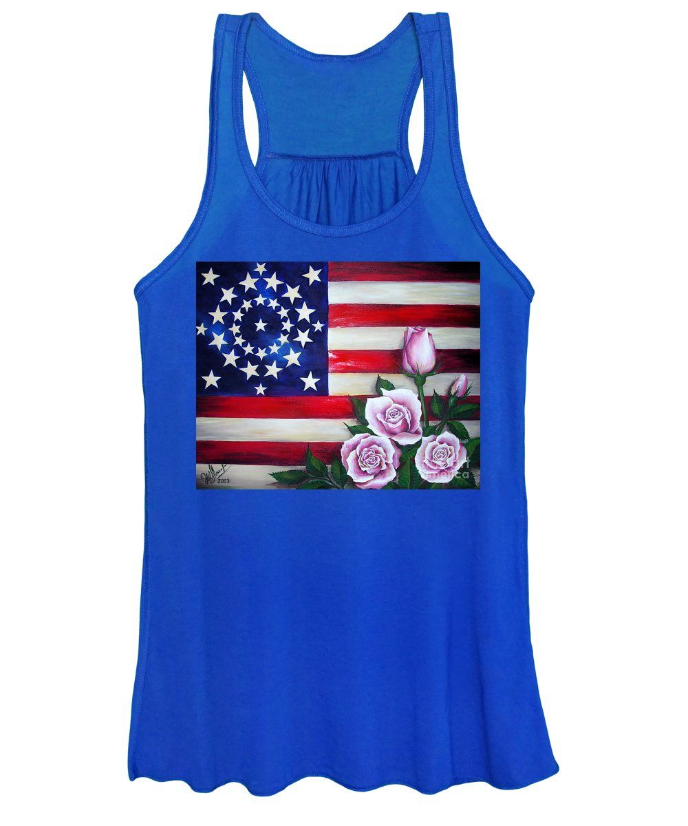 US Flag and Roses Tanktop AL5F1